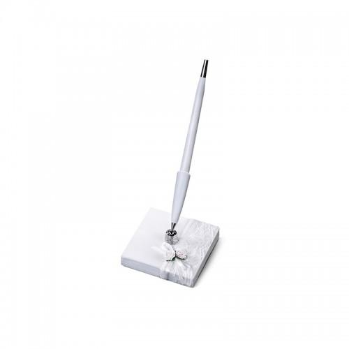 Stojaczek z perłowego papieru z koronką z białym długopisem