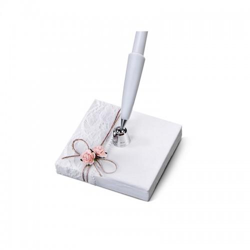 Stojaczek z perłowego papieru ze sznureczkiem z białym długopisem