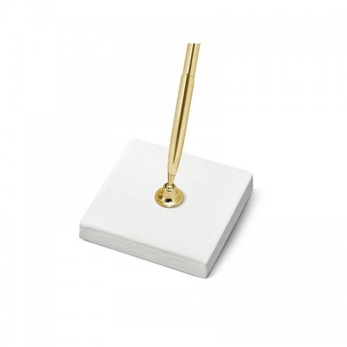 Stojaczek z kremowego, perłowego papieru ze złotym długopisem