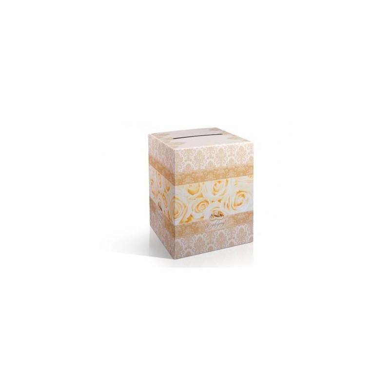 Pudełko na telegramy i pieniądze w odcieniach złota