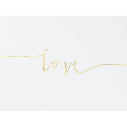 """Kremowa księga gości ze złotym napisem """"Love"""""""
