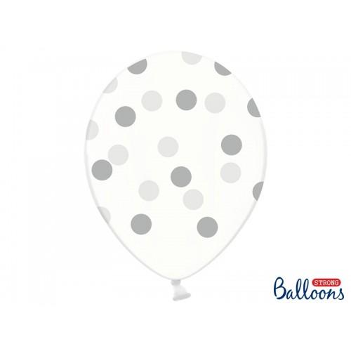 Przezroczyste balony ze srebrnymi kropkami