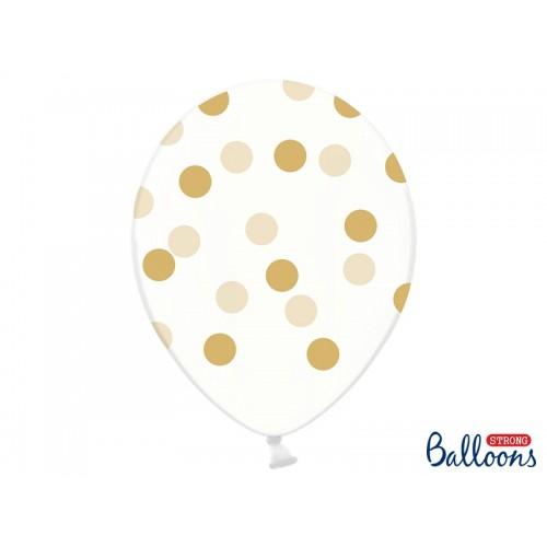Przezroczyste balony ze złotymi kropkami