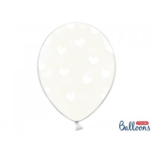 Przezroczyste balony z białymi serduszkami