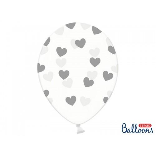 Przezroczyste balony ze srebrnymi serduszkami