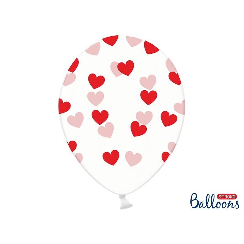 Przezroczyste balony z czerwonymi serduszkami