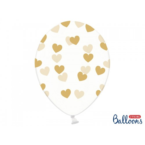 Przezroczyste balony ze złotymi serduszkami