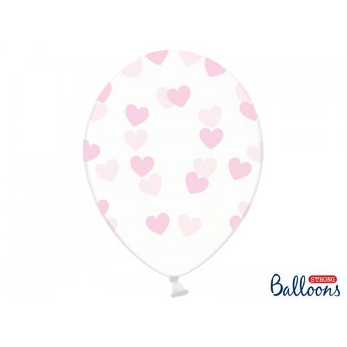 Przezroczyste balony z różowymi serduszkami