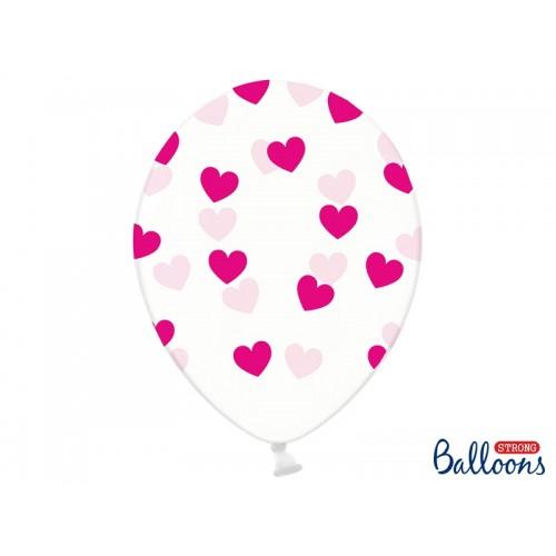 Przezroczyste balony z fuksjowymi serduszkami