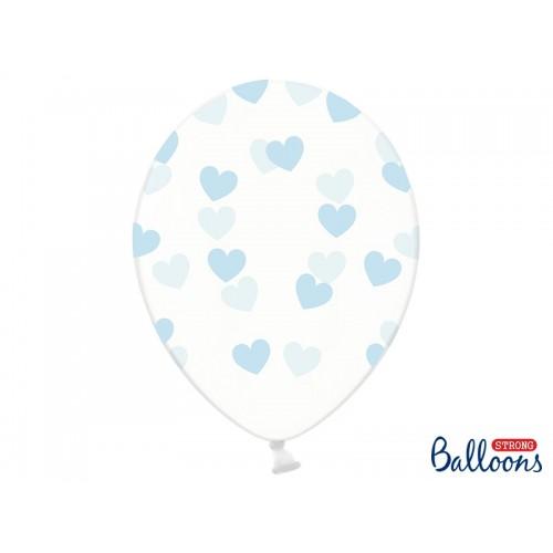 Przezroczyste balony z błękitnymi serduszkami
