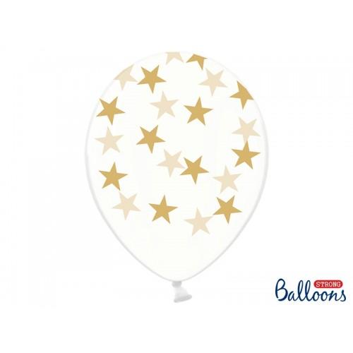 Przezroczyste balony ze złotymi gwiazdkami