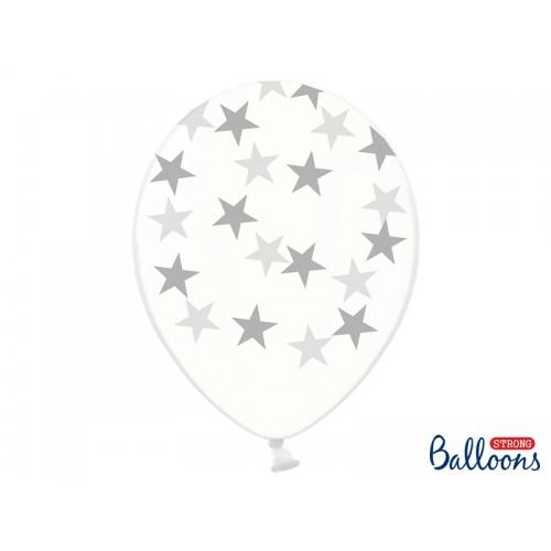 Przezroczyste balony ze srebrnymi gwiazdkami