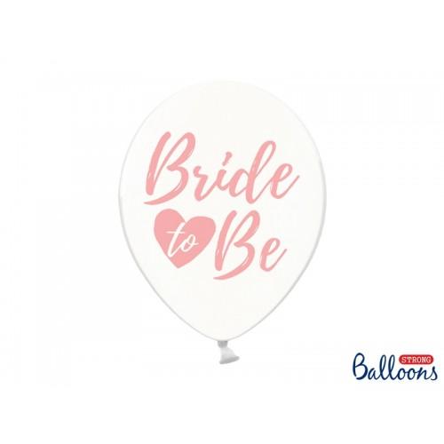 """Przezroczyste balony z różowym napisem """"Bride to Be"""""""