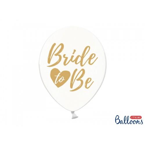 """Przezroczyste balony ze złotym napisem """"Bride to Be"""""""