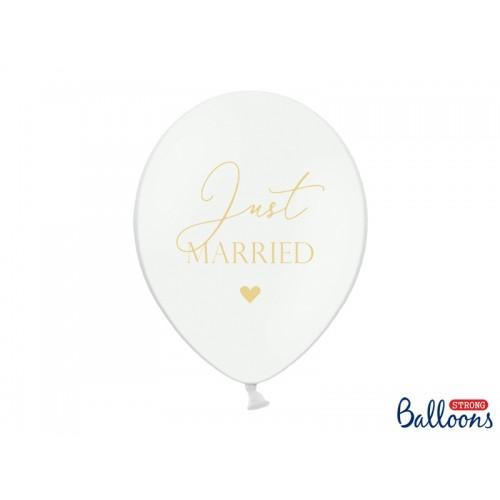 """Białe balony ze złotym napisem """"Just Married"""""""