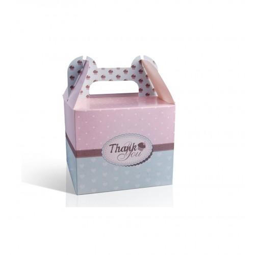 Pudełka na ciasto różowo - miętowe (10 sztuk)