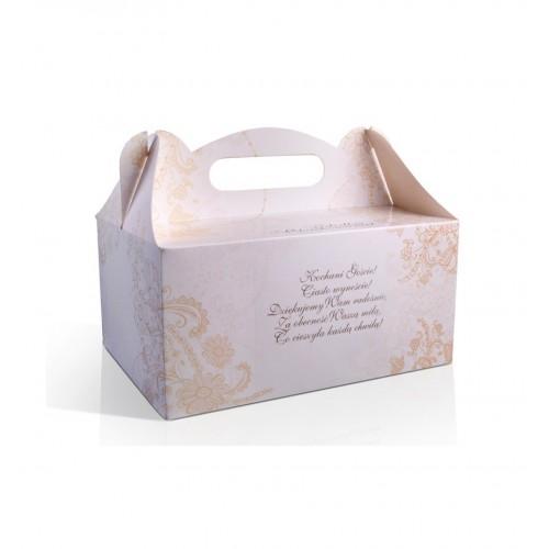 Pudełko na ciasto ze złotym, kwiatowym wzorem (10 sztuk)