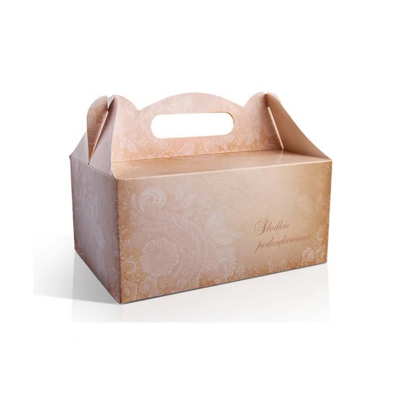 Złote pudełko na ciasto z kwiatowym wzorem (10 sztuk)