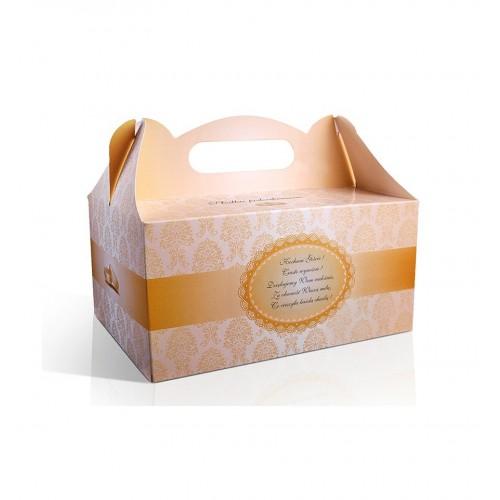 Złote pudełko na ciasto ze złotym paskiem (10 sztuk)