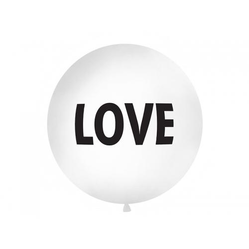 """Biały, pastelowy mega balon z napisem """"Love"""""""