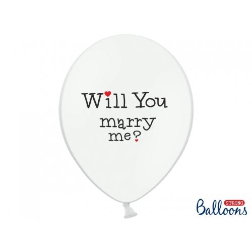 """Białe balony z napisem """"Will You Marry Me?"""" i """"Yes"""""""