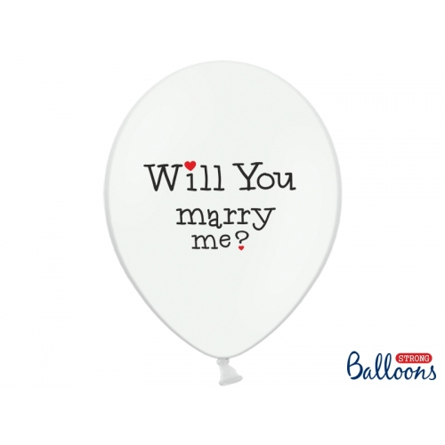 "Białe balony z napisem ""Will You Marry Me?"" i ""Yes"""