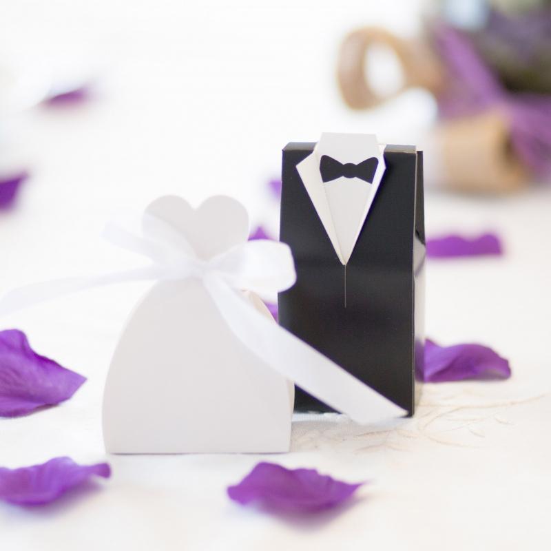 Pudełeczka dla gości - sukienka z kokardą (10 sztuk)
