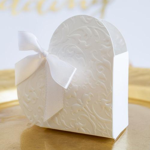 Pudełeczka dla gości - białe serce (10 sztuk)