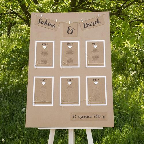 Plakat rozmieszczenia gości - Rustic Heart