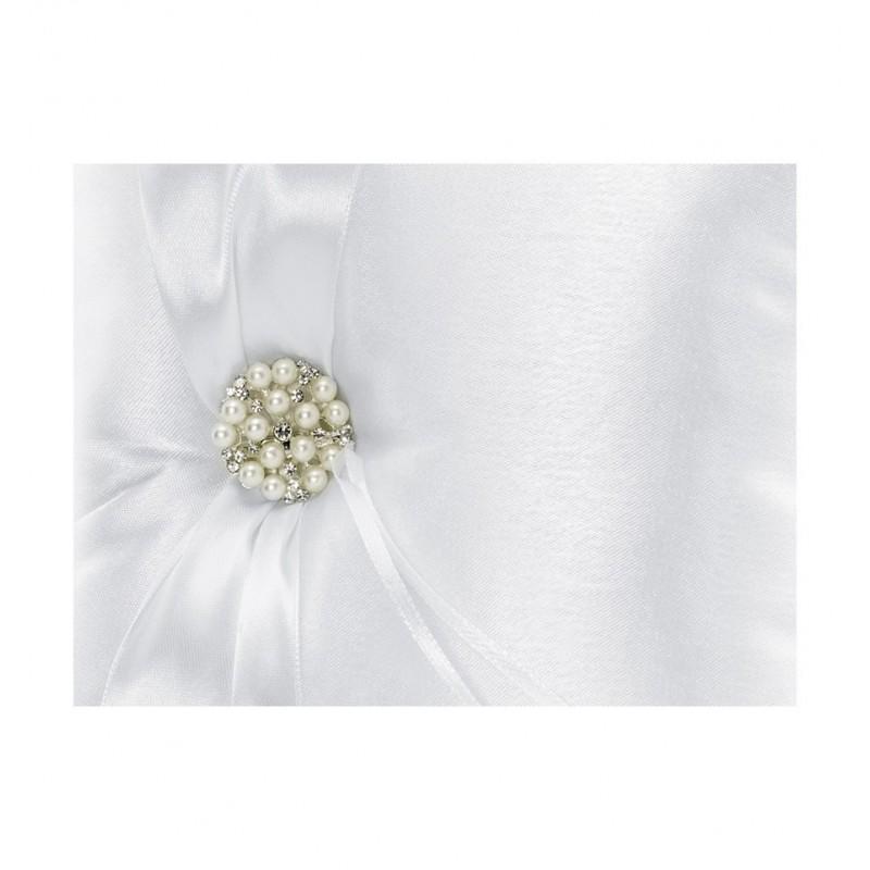 Biała poduszka pod obrączki z perłową ozdobą