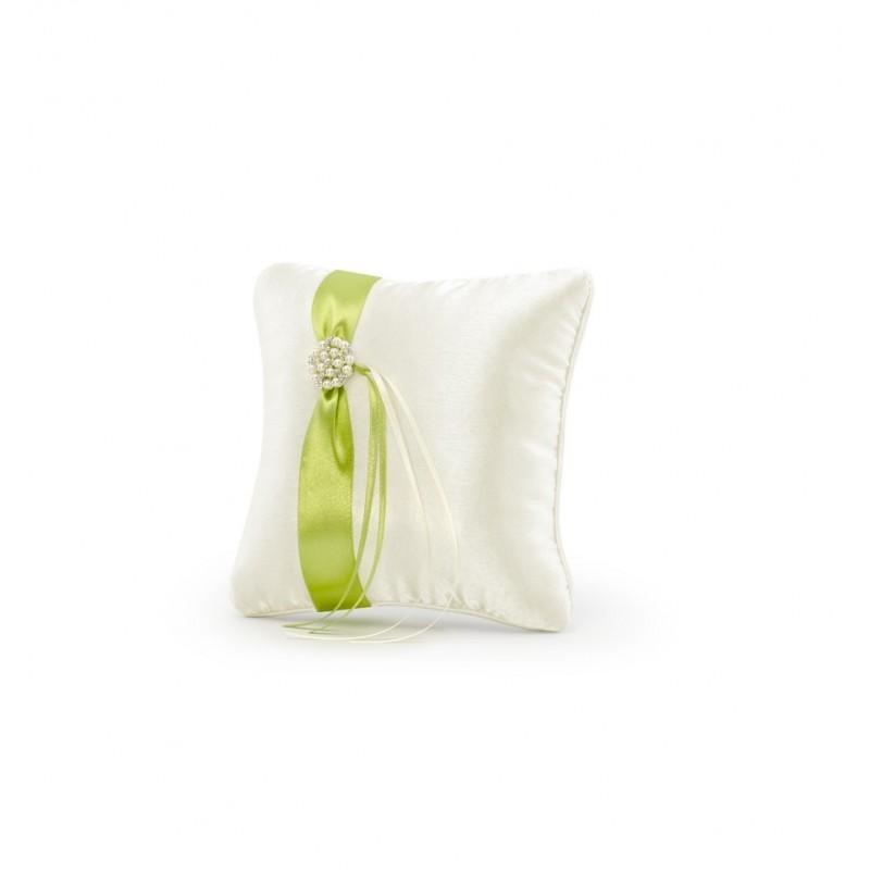 Kremowa poduszka pod obrączki z zieloną tasiemką