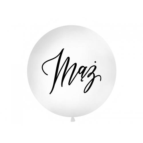 """Biały, pastelowy mega balon z czarnym napisem """"Mąż"""""""