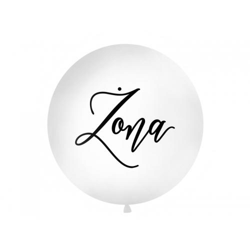 """Biały, pastelowy mega balon z czarnym napisem """"Żona"""""""