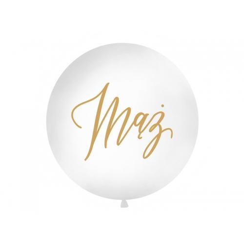 """Biały, pastelowy mega balon ze złotym napisem """"Mąż"""""""