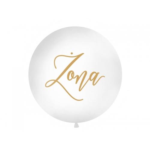 """Biały, pastelowy mega balon ze złotym napisem """"Żona"""""""