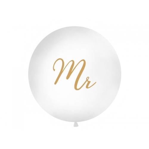 "Biały, pastelowy mega balon ze złotym napisem ""Mr"""