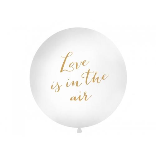 """Biały, pastelowy mega balon ze złotym napisem """"Love is in the air"""""""