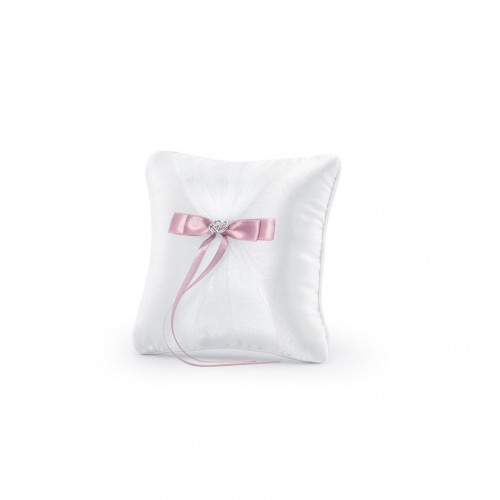Biała poduszka pod obrączki z różową kokardką