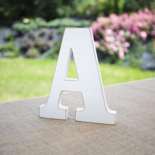 """Drewniana literka """"A"""" - biała"""
