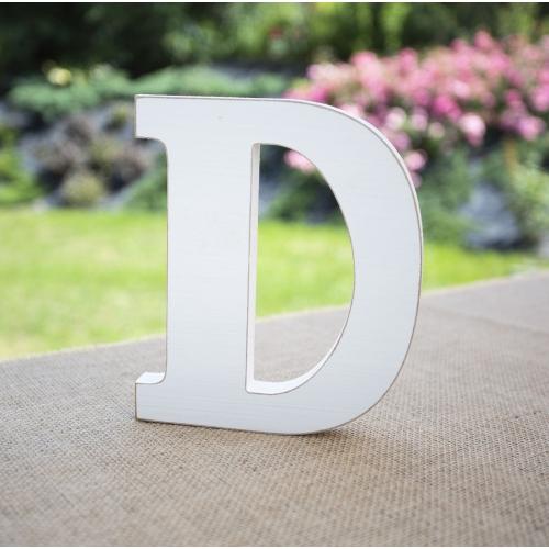 "Drewniana literka ""D"" - biała"