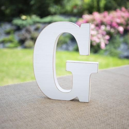 """Drewniana literka """"G"""" - biała"""