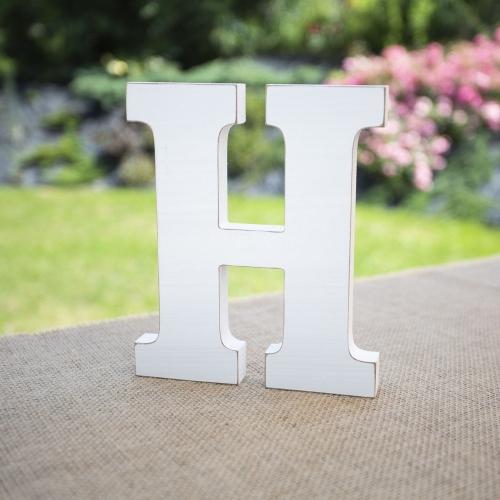 "Drewniana literka ""H"" - biała"