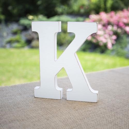 """Drewniana literka """"K"""" - biała"""