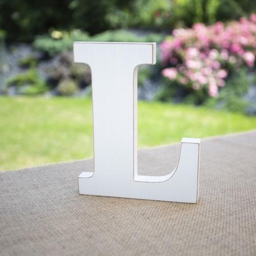 """Drewniana literka """"L"""" - biała"""