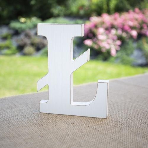 """Drewniana literka """"Ł"""" - biała"""