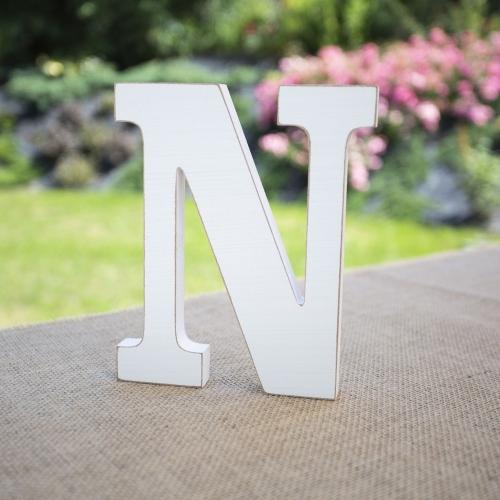 "Drewniana literka ""N"" - biała"