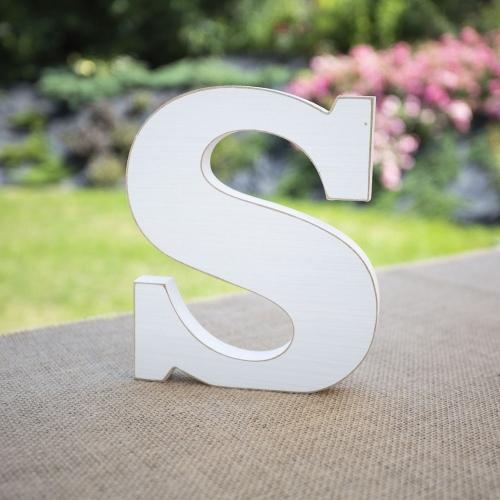 """Drewniana literka """"S"""" - biała"""