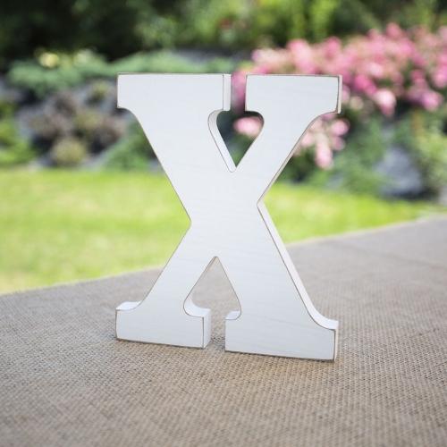 """Drewniana literka """"X"""" - biała"""