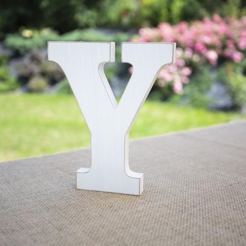 """Drewniana literka """"Y"""" - biała"""