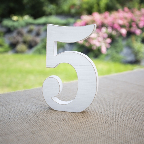 """Drewniana cyferka """"5"""" - biała"""